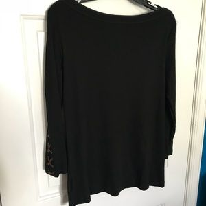 Chaps long ranch sleeve black top, Large NWT